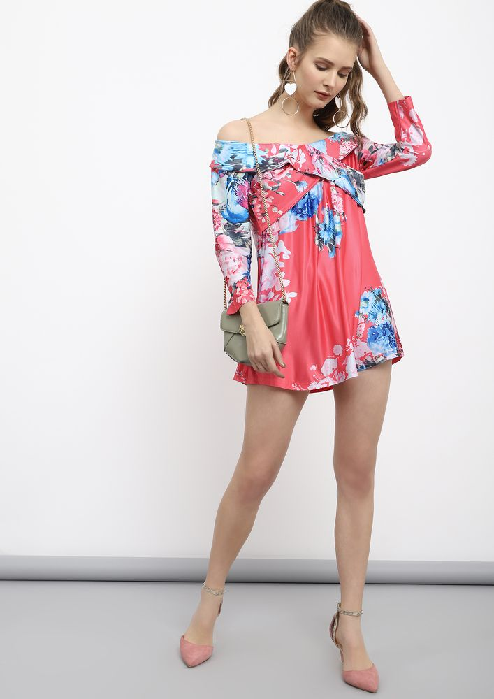 PETAL TOUCH PASTEL RED TUNIC DRESS