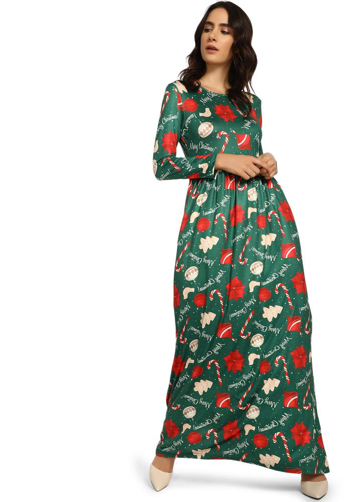 FEISTY & FESTIVE GREEN MAXI DRESS