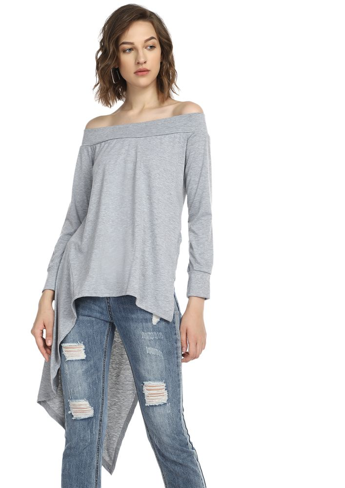 SUN-KISSED COLLARBONES GREY BARDOT TUNIC TOP