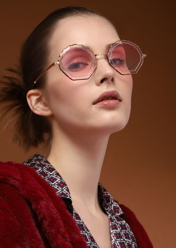 ROUGH EDGES PINK TETRO SUNGLASSES