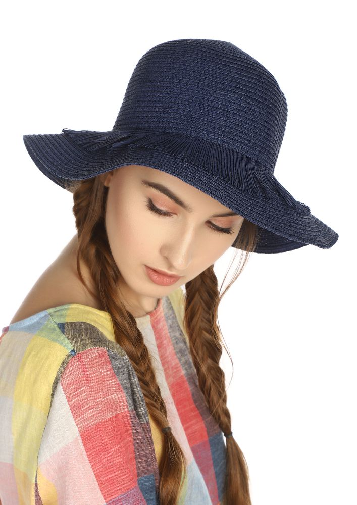 PALM DOWN BABE NAVY STRAW HAT