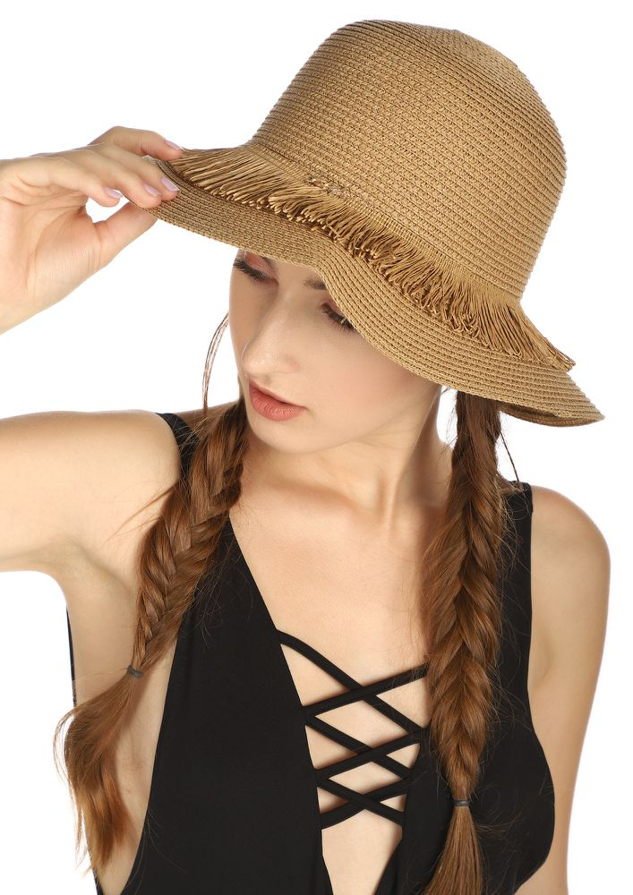 PALM DOWN BABE BROWN STRAW HAT
