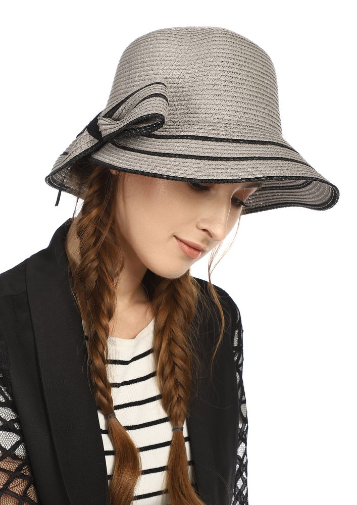 BOWS AND BEACHES  GREY DERBY HAT