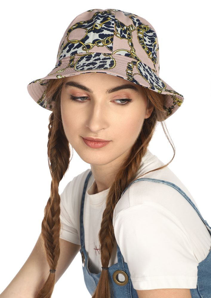 AFTER-BRUNCH CITY STOLL PINK BUCKET HAT