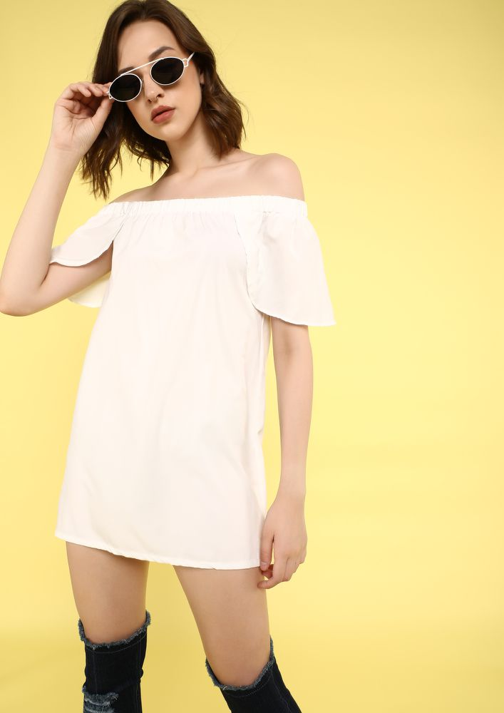 FEELING SO SUMMERY WHITE OFF-SHOULDER SHIFT DRESS