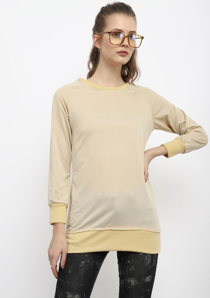 LOVE BETWEEN US BEIGE RIBBED TOP
