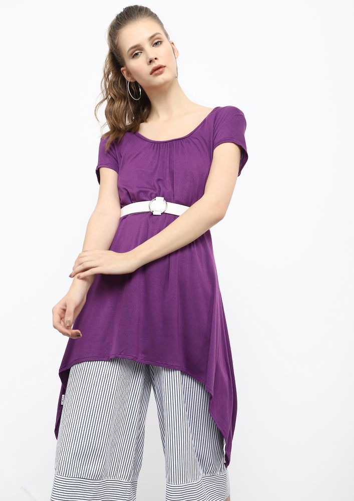 ALONG THE WAVES PURPLE ASYMMETRICAL TUNIC TOP