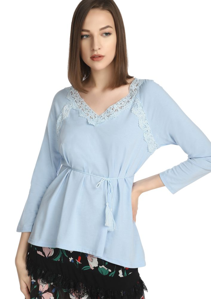 PRETTY DAINTY DUSTY BLUE TUNIC TOP
