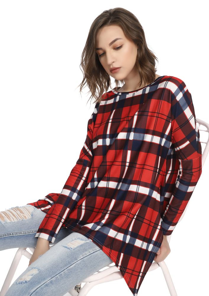 YOU PLAID ME WELL RED TUNIC TOP