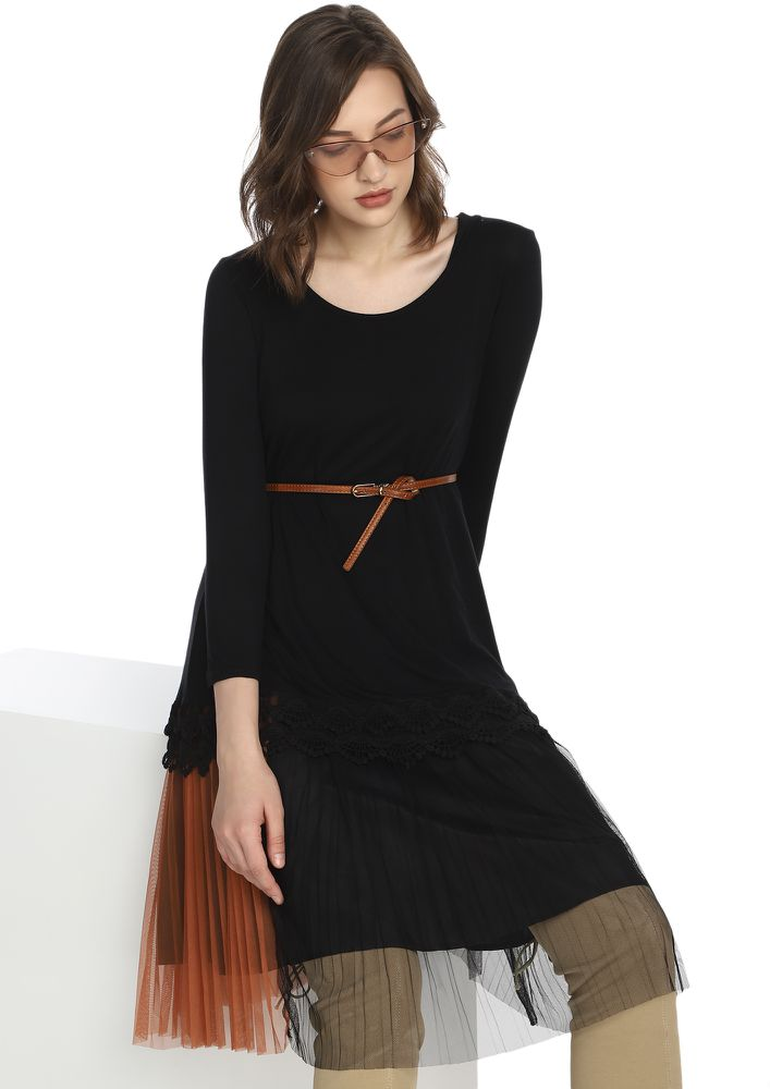 FROM AM TO PM BLACK TUNIC TOP