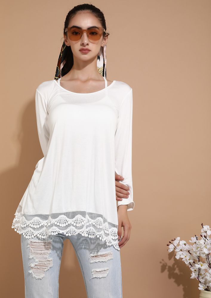 FROM AM TO PM WHITE TUNIC TOP