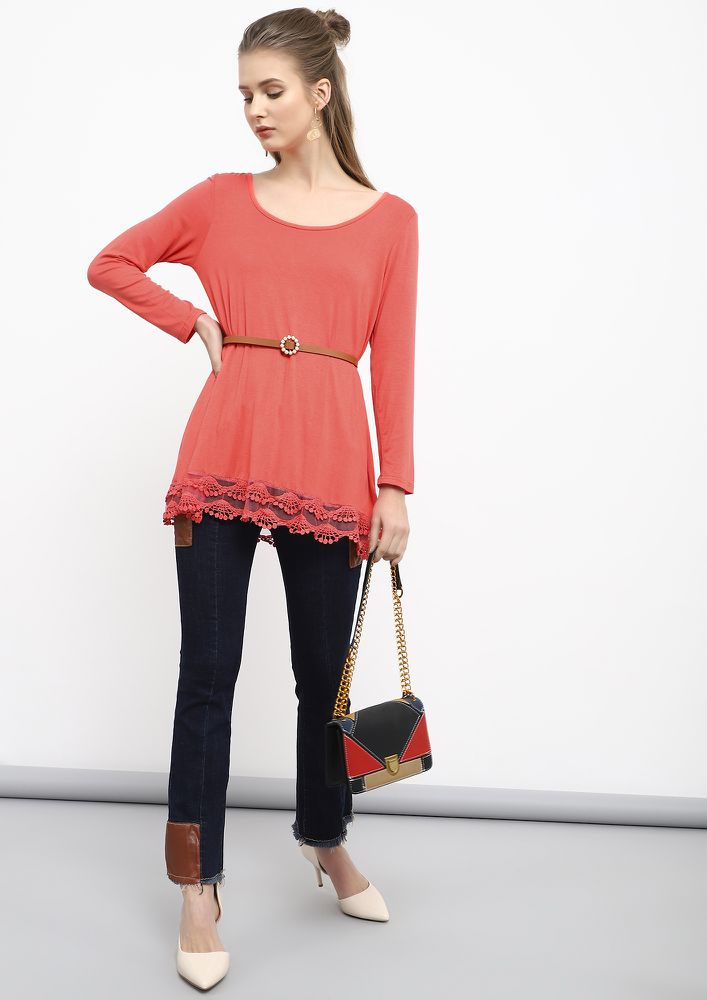 FROM AM TO PM PASTEL RED TUNIC TOP