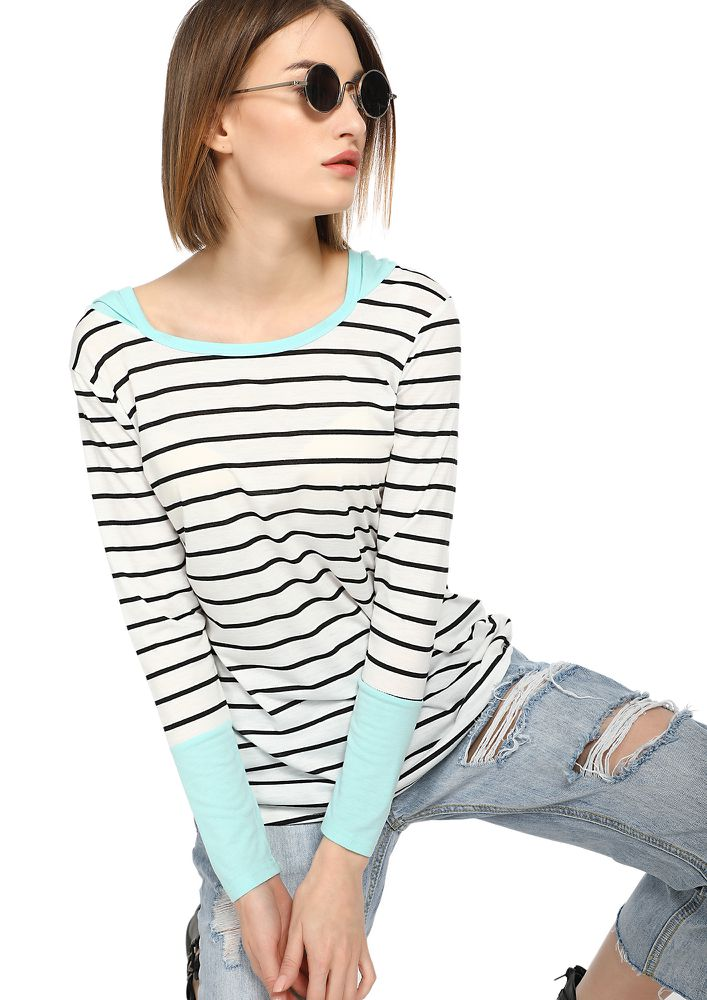 BRING ME STRIPES SKY BLUE HOODED T-SHIRT
