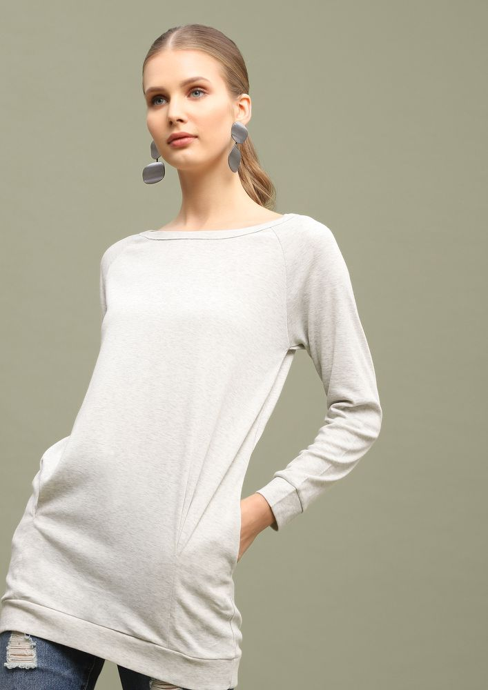ALWAYS RELAXING GREY TUNIC TOP