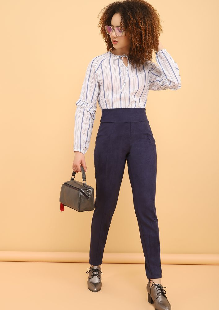 ALMOST LIKE BASIC BLUE STRIPED BLOUSE