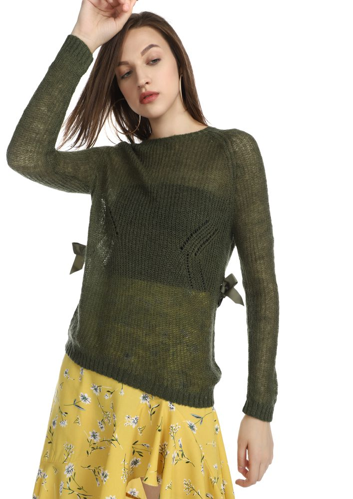 IT'S NEVER TOO LATE OLIVE GREEN RIBBED TOP