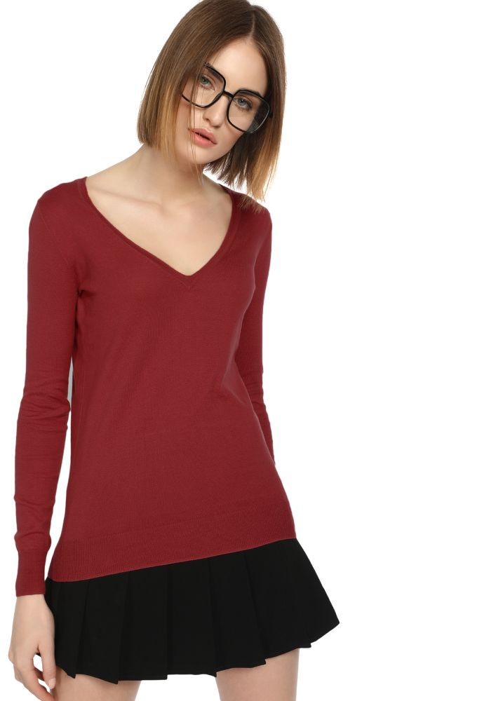 CAN YOU RIB-PEAT MAROON RIBBED T-SHIRT