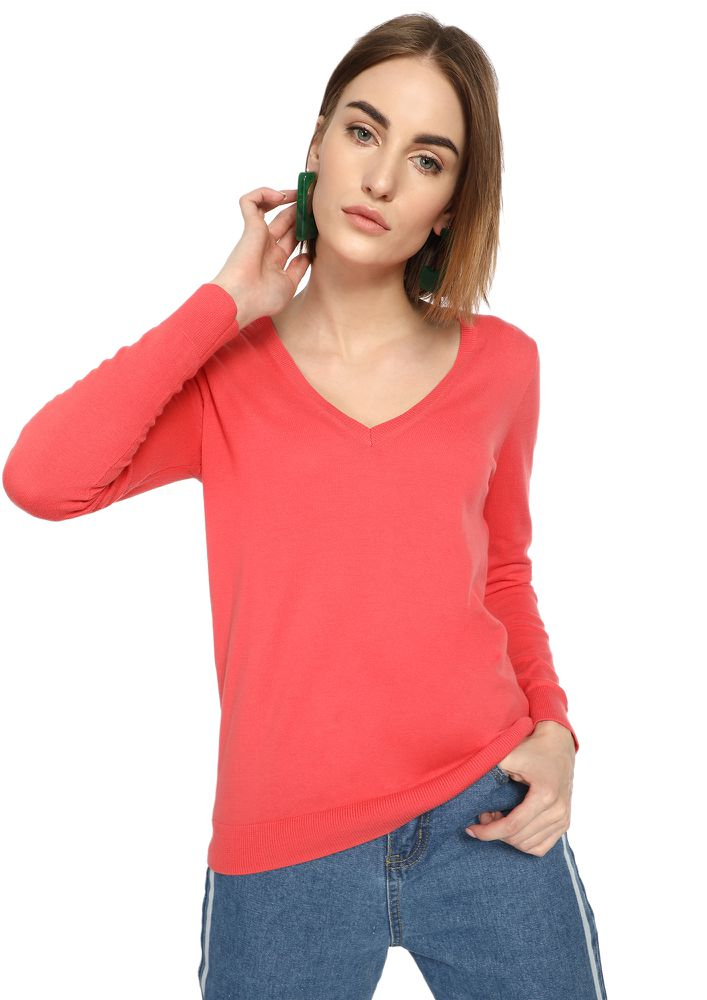 CAN YOU RIB-PEAT ROSE RED RIBBED T-SHIRT