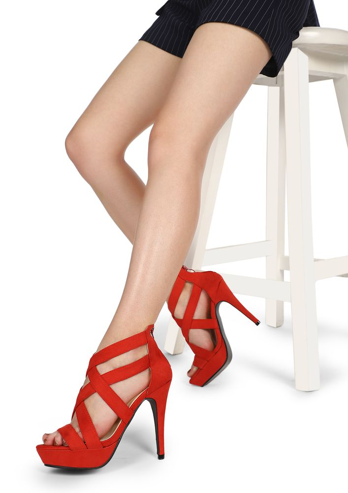 Set-Up Open Game Red Heeled Sandals