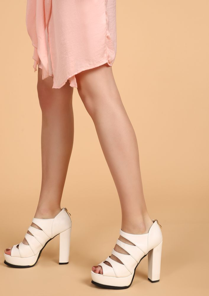 No Apologies Needed White PEEP-TOE HEELS