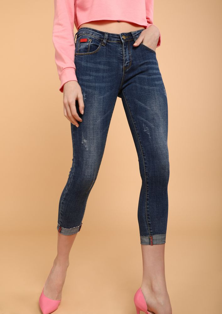 CHOP YOUR OWN WOOD BLUE CROPPED JEANS