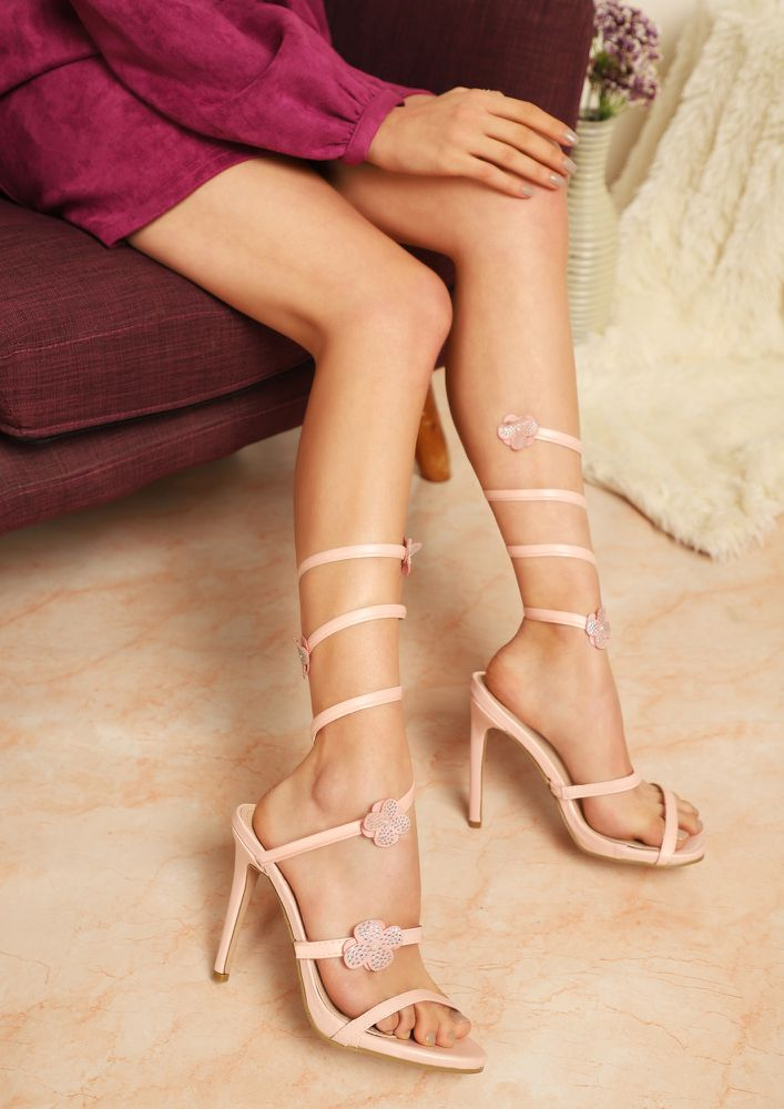 COLORS OF LOVE PINK HEELED SANDALS