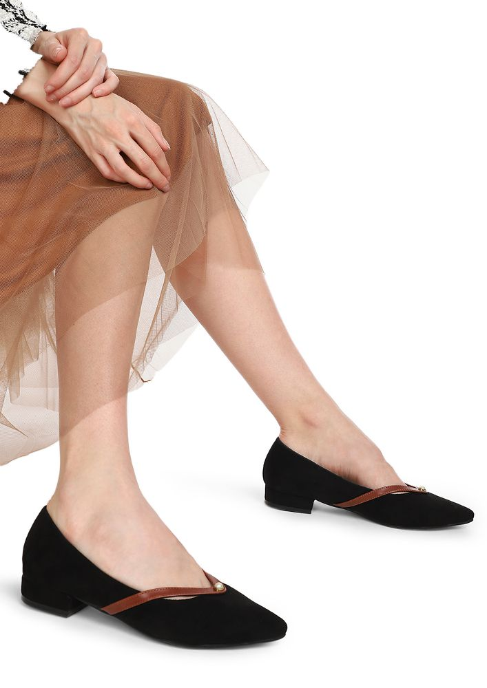 OFFICE HOURS BLACK BALLET FLATS