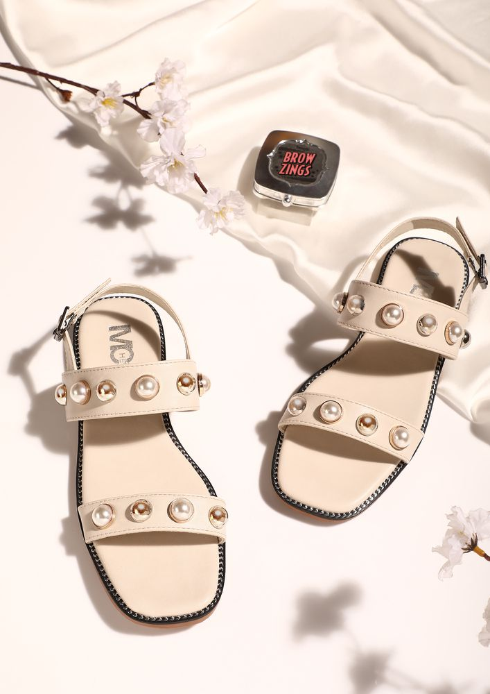 TURN AROUND BEIGE FLAT SANDALS