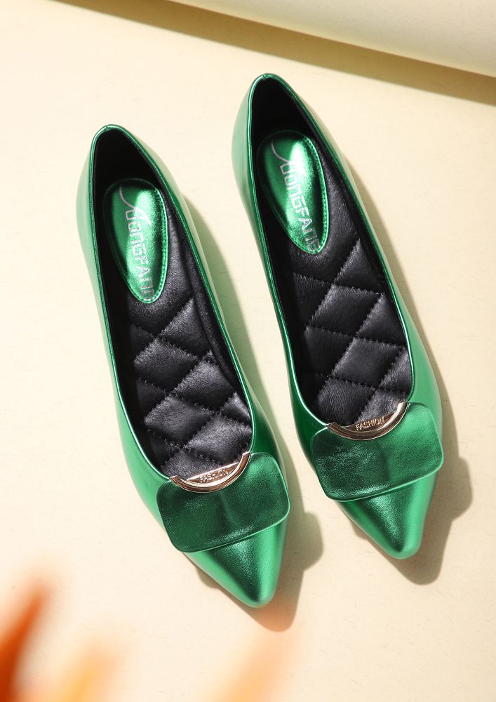 MY PRETTY FEET GREEN BALLET FLATS