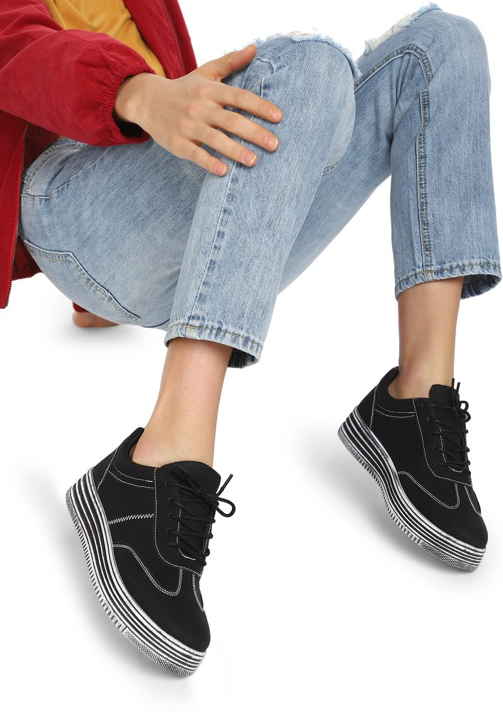 COOLLER THAN YOU THINK BLACK CASUAL SHOES