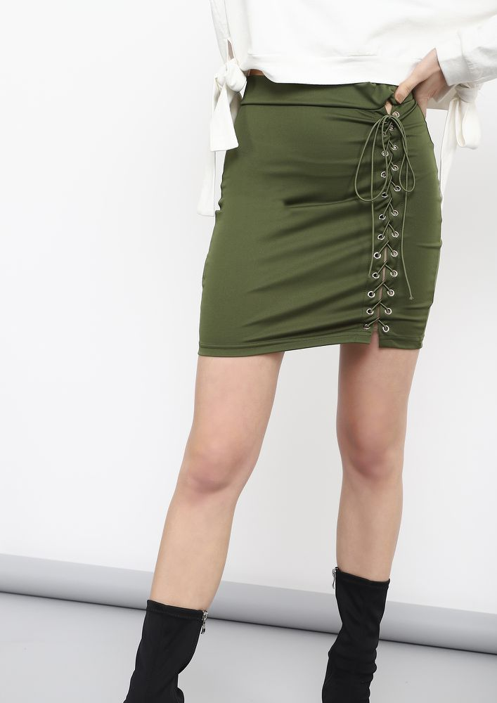 ALL TIED UP ARMY GREEN PENCIL SKIRT
