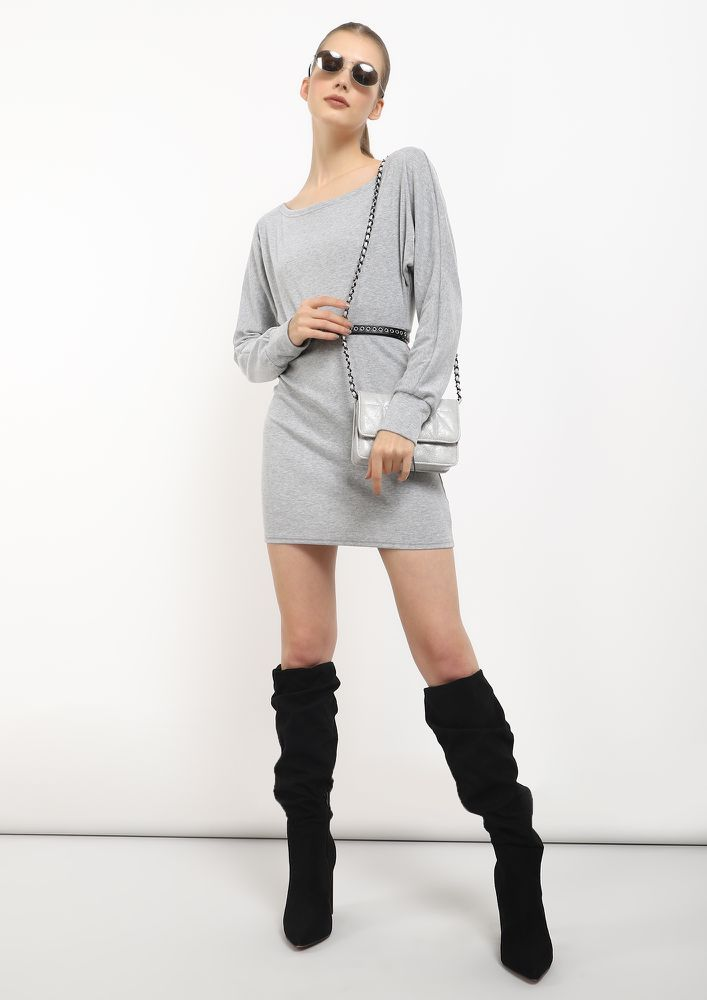 CHILL IN THE AIR GREY TUNIC DRESS