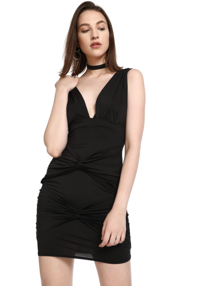 TWIST IT A LIL BLACK PENCIL DRESS