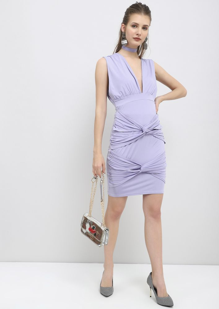 TWIST IT A LIL LILAC PENCIL DRESS