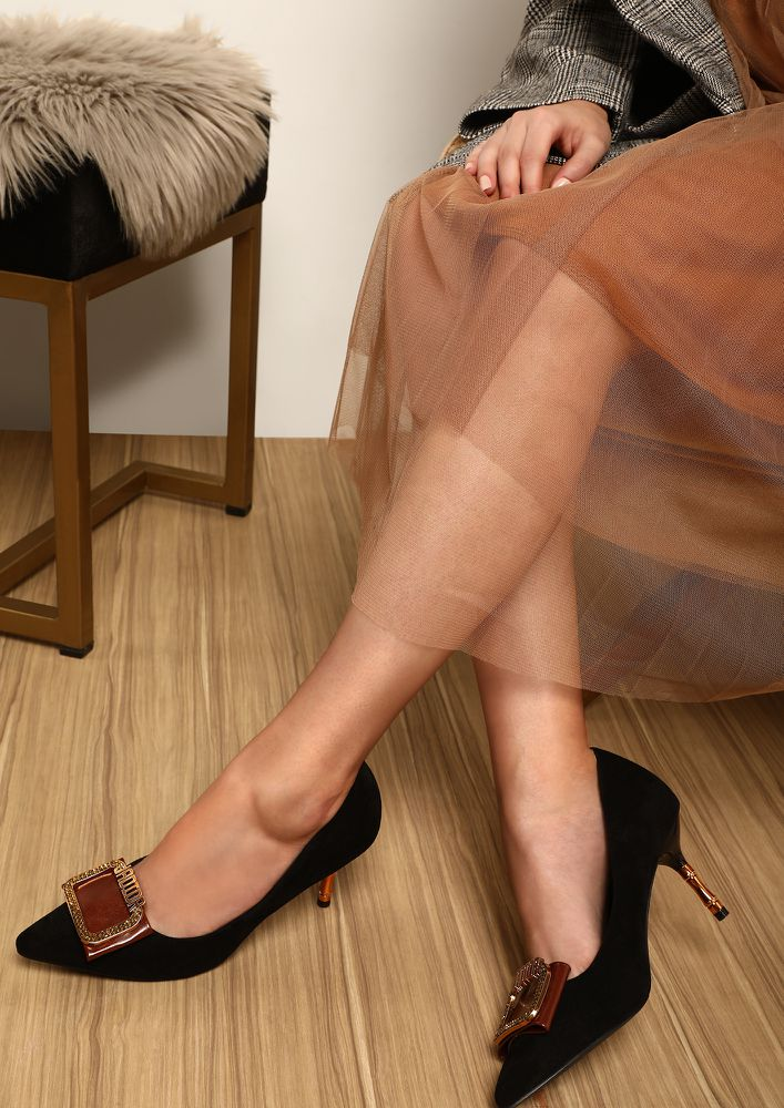 Center Of Attention Black Spool Heeled Shoes