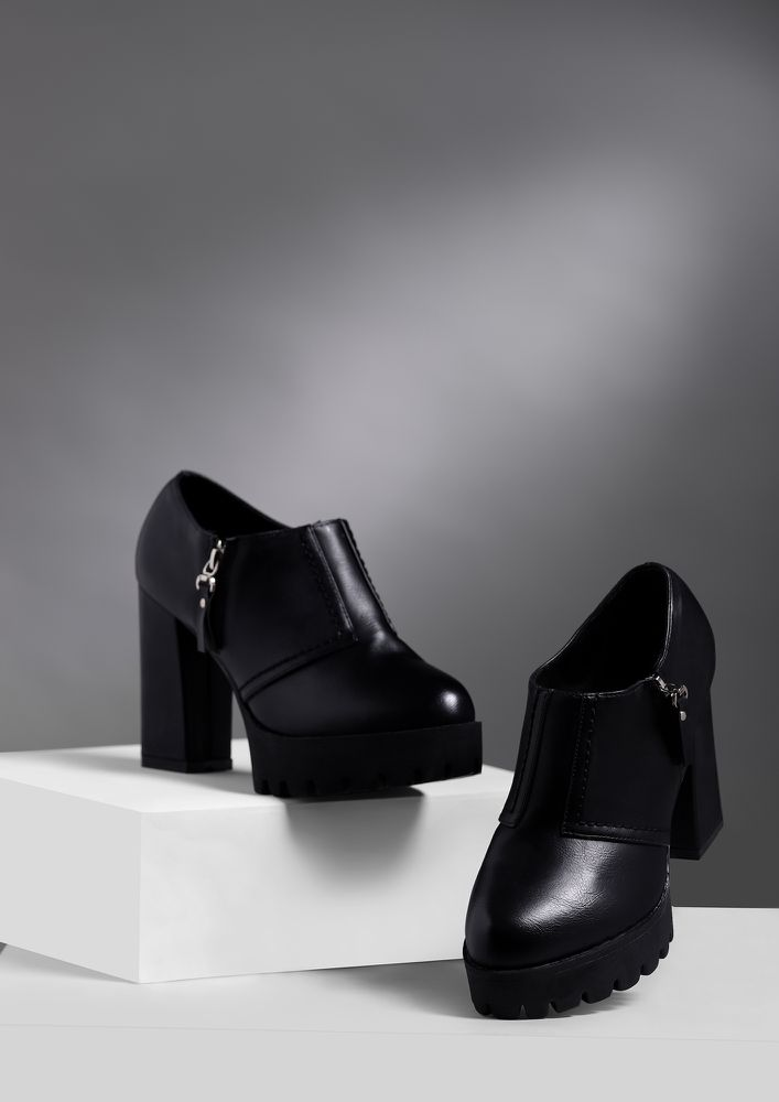 A LITTLE LESS CONVERSATION BLACK ANKLE BOOTS