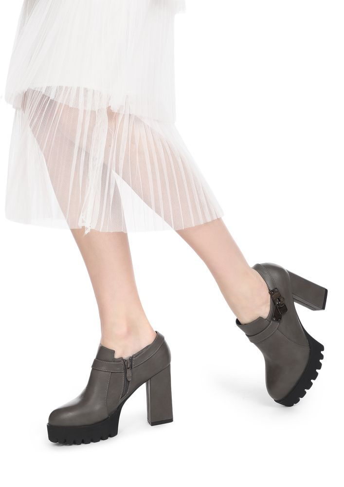 OFFICE TO HAPPY HOURS GREY ANKLE BOOTS