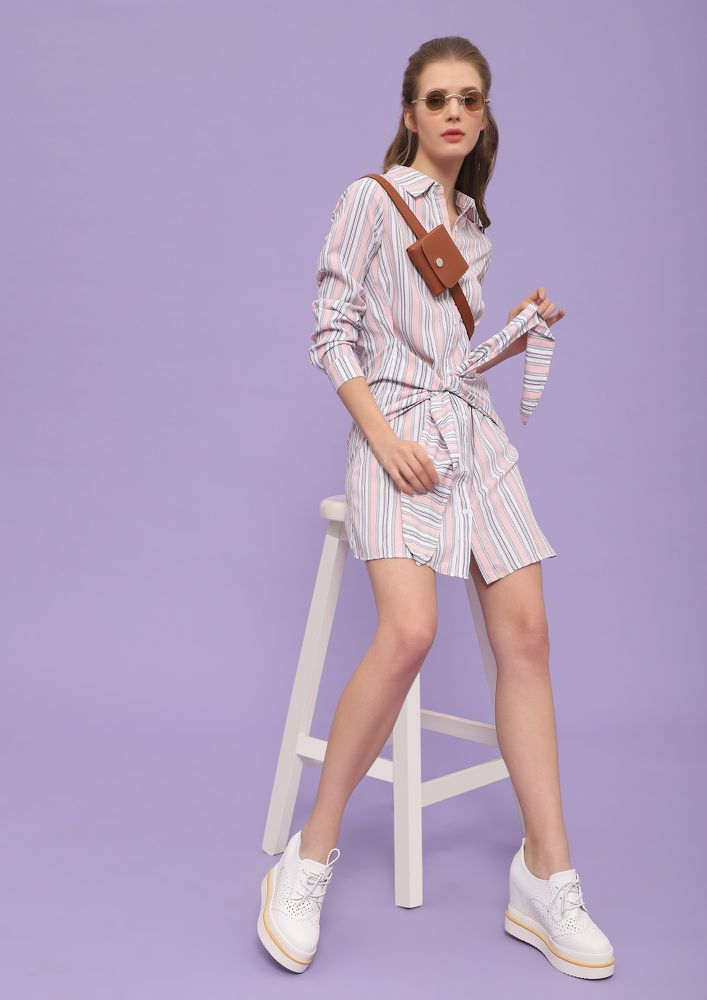 TIE THOSE STRIPES PINK SHIRT DRESS