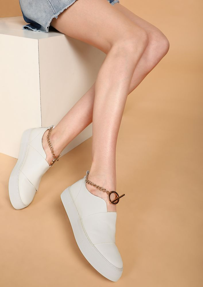 JAZZ IT UP WHITE CASUAL SHOES