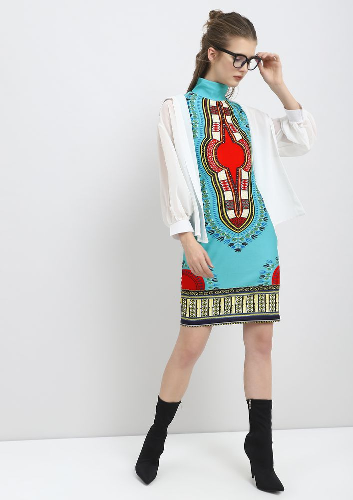 ON A MOROCCAN LAND AQUA TUNIC DRESS