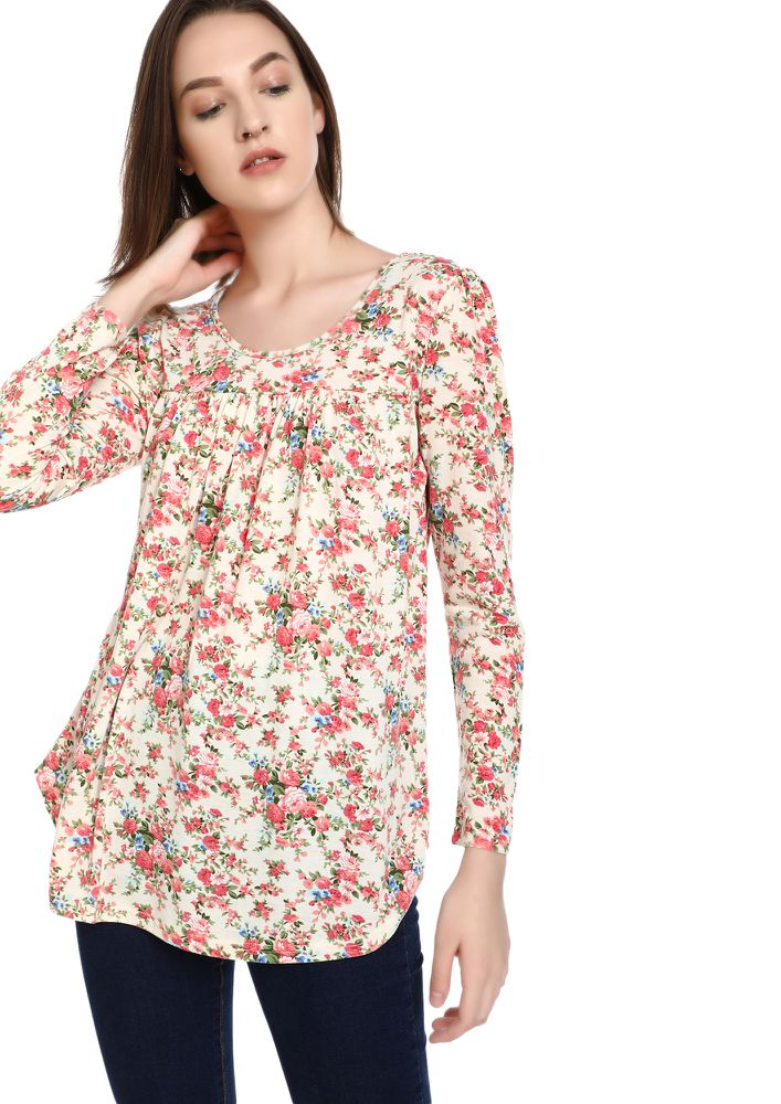 ON A FLOWER TRIP BEIGE TUNIC TOP