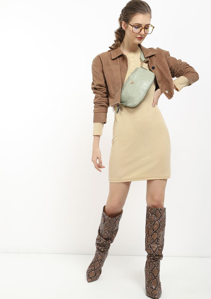 ALWAYS A GO-TO BEIGE TUNIC DRESS