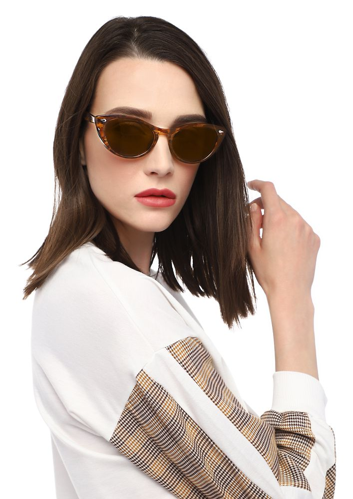 IN A MEW-MOMENT BROWN  CATEYE SUNGLASSES