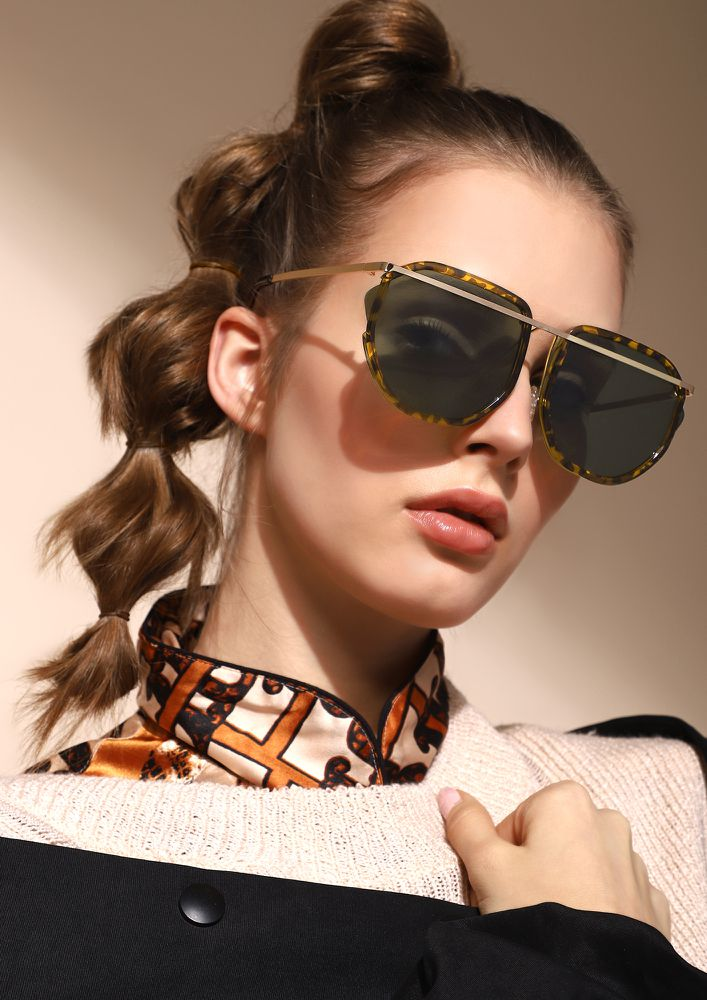 DON'T RAISE YOUR BROWS BROWN RETRO SUNGLASSES
