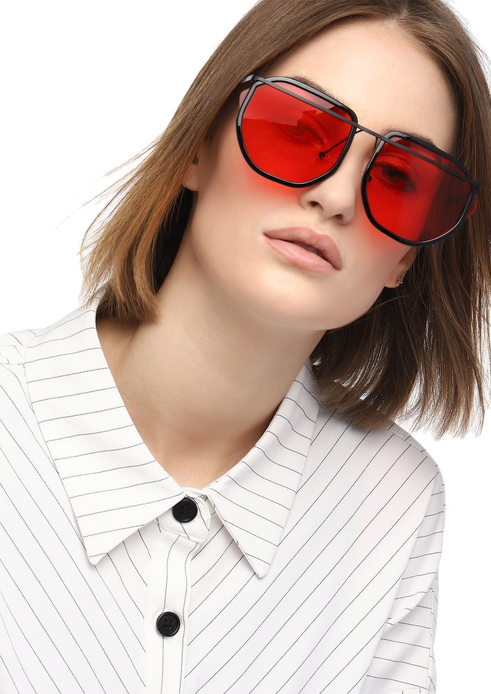 DON'T RAISE YOUR BROWS RED RETRO SUNGLASSES