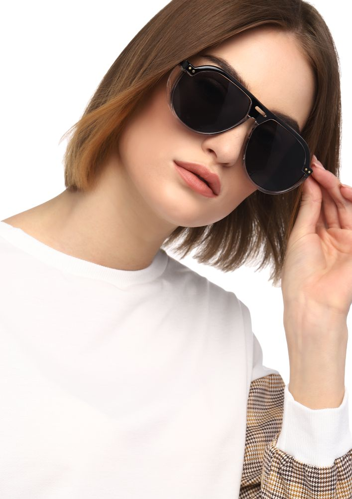 LOVE FROM ALL SIDES BLACK RETRO SUNGLASSES