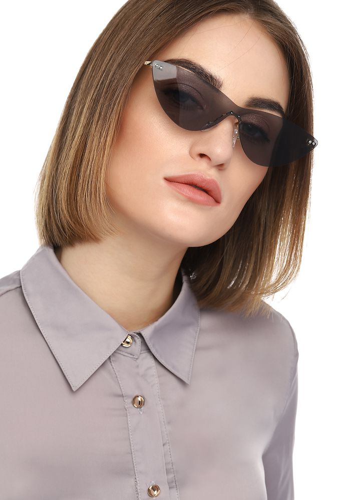 SET YOUR SIGHTS GREY CATEYE SUNGLASSES