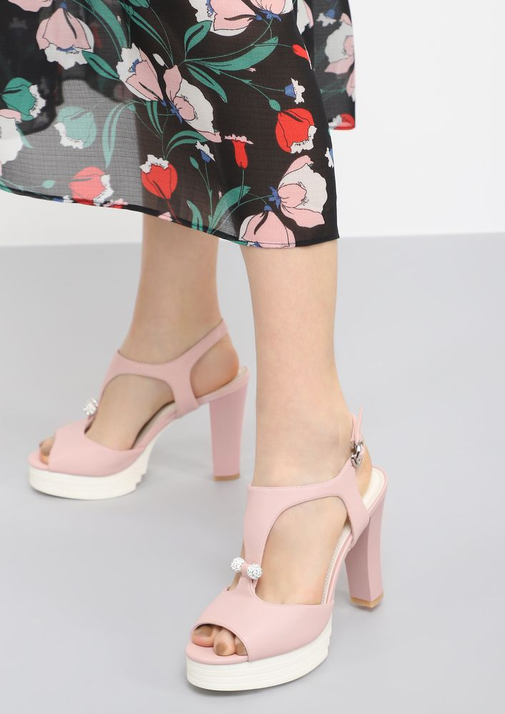 BACK ON YOUR FEET PINK PEEP-TOE HEELS