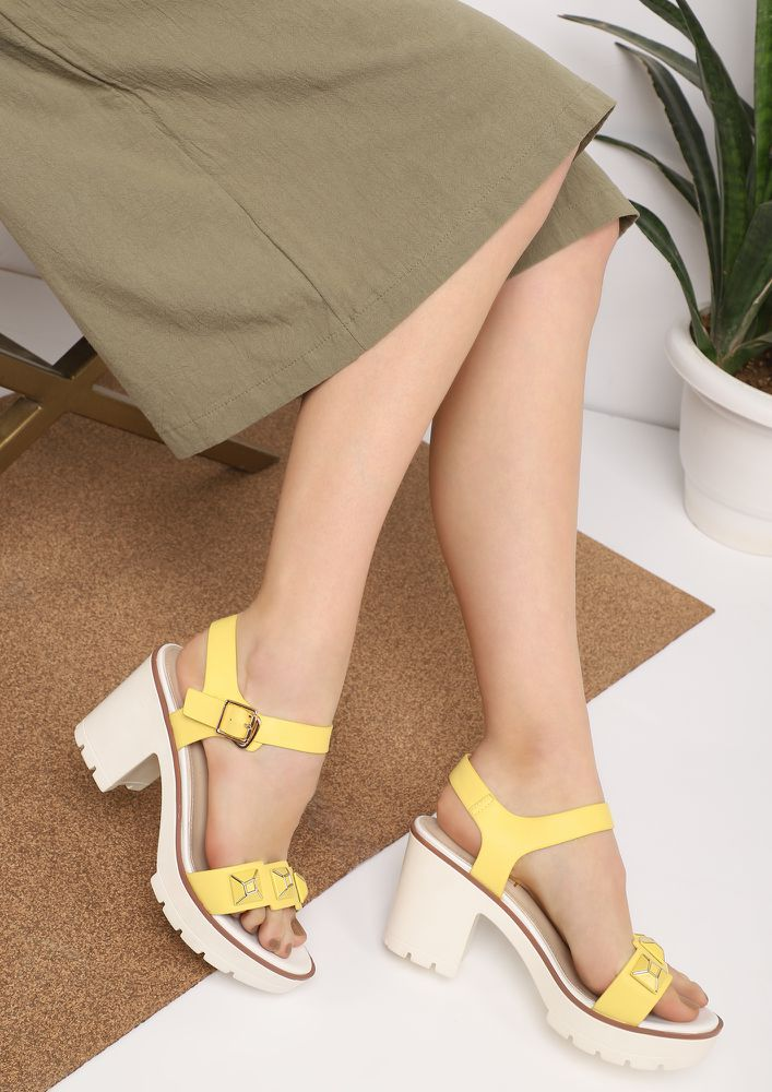 ROAMING AROUND THE CITY YELLOW HEELED SANDALS