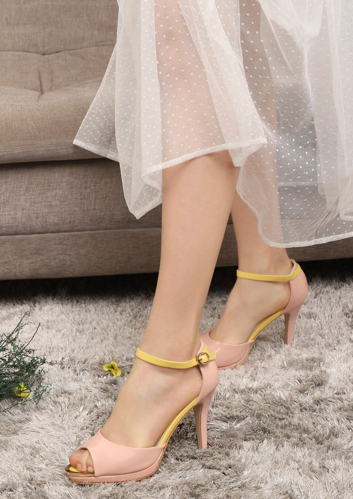 PEEP OUT PINK PEEP-TOE HEELS